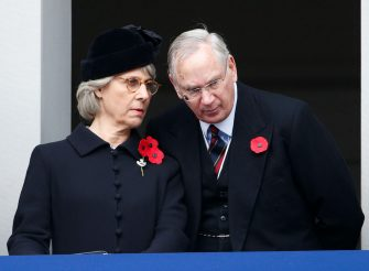 LONDON, UNITED KINGDOM - NOVEMBER 08: (EMBARGOED FOR PUBLICATION IN UK NEWSPAPERS UNTIL 48 HOURS AFTER CREATE DATE AND TIME) Birgitte, Duchess of Gloucester and Prince Richard, Duke of Gloucester attend the annual Remembrance Sunday Service at the Cenotaph on Whitehall on November 8, 2015 in London, England. The National Service of Remembrance takes place at the Cenotaph in Whitehall, London.  The Queen, senior politicians, including the British Prime Minister and former British Prime Ministers, alongside representatives from the armed forces pay tribute to those who have suffered or died at war. (Photo by Max Mumby/Indigo/Getty Images)