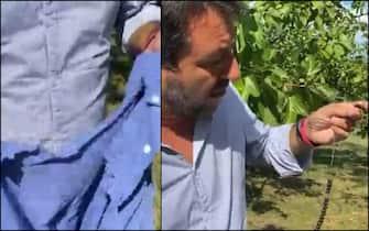 Matteo Salvini mostra la camicia strappata e il rosario rotto dopo l'aggressione di Pontassieve