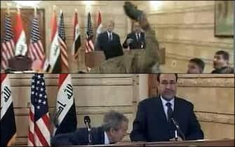 Il giornalista iracheno Muntadhar al-Zaid lancia una scarpa contro George W Bush