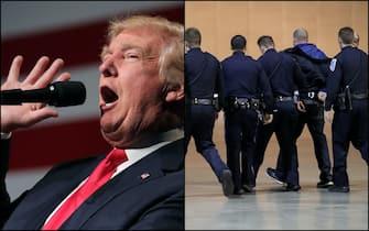 Donald Trump e l'uomo che ha cercato di avvicinarsi al palco di Reno scortato dagli agenti del Secret Service