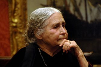 LONDON - JANUARY 30:  (EMBARGOED FOR PUBLICATION IN UK TABLOID NEWSPAPERS UNTIL 48 HOURS AFTER CREATE DATE AND TIME)  Doris Lessing attends the reception hosted by Harpercollins and English Pen for Doris Lessing to receive the Nobel Prize in Literature, at the Wallace Collection on January 30, 2008 in London, England.  (Photo by Dave M. Benett/Getty Images)