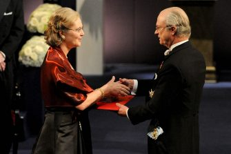 Australian-American Elizabeth Blackburn (L) receives the Nobel Prize in Medicine from King Carl XVI Gustaf of Sweden (R) during the Nobel prize award ceremony at the Stockholm Concert Hall in Stockholm on December 10, 2009.  A record five women were awarded Nobels this year -- nearly one-eighth of the 41 awards to female recipients in the 108-year history of the prize. AFP PHOTO /SCANPIX/ PONTUS LUNDAHL ***sweden out*** / AFP / SCANPIX SWEDEN / PONTUS LUNDAHL        (Photo credit should read PONTUS LUNDAHL/AFP via Getty Images)