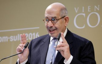 """Nobel Peace Prize Laureate Mohamed ElBaradei delivers a speech at the Vienna Congress """"com sult 2016"""" on January 19, 2016 in Vienna.  / AFP / APA / GEORG HOCHMUTH / Austria OUT        (Photo credit should read GEORG HOCHMUTH/AFP via Getty Images)"""