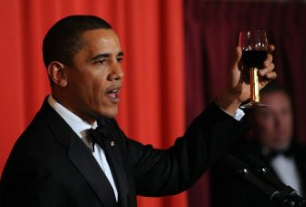 US President and Nobel Peace Prize laureate Barack Obama raises his glass as he makes a toast during the Nobel Banquet in Oslo on December 10, 2009. Obama on December 10 accepted the Nobel Peace Prize, uncomfortably acknowledging his role as a leader at war while insisting that conflict can be morally justified. AFP PHOTO/Jewel SAMAD (Photo credit should read JEWEL SAMAD/AFP via Getty Images)