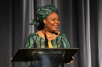 """BEVERLY HILLS, CA - MAY 05:  2011 Nobel Peace Laureate Leymah Gbowee speaks about """"The Role of Women at the Front Lines of Peace Building"""" during a Visionary Women Salon at the Beverly Wilshire Four Seasons Hotel on May 5, 2015 in Beverly Hills, California.  (Photo by Sarah Hummert/Getty Images for VISIONARY WOMEN)"""