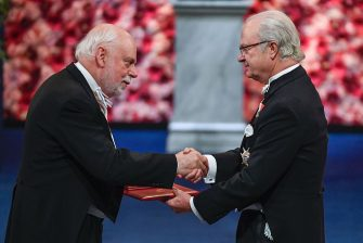 Great Britain's Sir James Fraser Stoddart (L) receives the Nobel Prize in Chemistry by King Carl XVI Gustaf of Sweden during the award ceremony of the Nobel Prizes in medicine, economics, physics and chemistry on December 10, 2016 in Stockholm, Sweden.  Nobel laureates are honoured every year on December 10 -- the anniversary of the death of prize's founder Alfred Nobel, a Swedish industrialist, inventor and philanthropist. / AFP / TT News Agency / JESSICA GOW / Sweden OUT        (Photo credit should read JESSICA GOW/AFP via Getty Images)