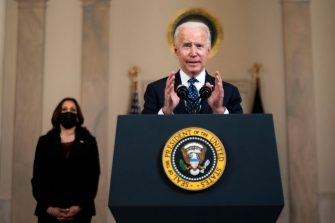 WASHINGTON, DC - APRIL 20: U.S. President Joe Biden makes remarks in response to the verdict in the murder trial of former Minneapolis police officer Derek Chauvin at the Cross Hall of the White House April 20, 2021 in Washington, DC. Chauvin was found guilty by the jury today on all three charges in the death of George Floyd last May. (Photo by Doug Mills/Pool/Getty Images)