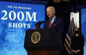 WASHINGTON, DC - APRIL 21: U.S. President Joe Biden (R) makes remarks in response to the verdict in the murder trial of ex-police officer Derek Chauvin as Vice President Kamala Harris (R) looks on at the Cross Hall of the White House April 20, 2021 in Washington, DC. Derek Chauvin was convicted on all three charges in the death of George Floyd. (Photo by Alex Wong/Getty Images)