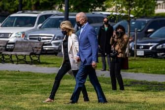 WASHINGTON, DC - APRIL 24: First lady Jill Biden and  U.S. President Joe Biden walk on the ellipse to Marine One on April 24, 2021 in Washington, DC. U.S. President Joe Biden and First lady Jill Biden will spend the weekend in Delaware.  (Photo by Tasos Katopodis/Getty Images)