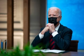 WASHINGTON, DC - APRIL 22: U.S. President Joe Biden listens during a virtual Leaders Summit on Climate with 40 world leaders in the East Room of the White House April 22, 2021 in Washington, DC. President Biden pledged to cut greenhouse gas emissions by half by 2030. (Photo by Al Drago-Pool/Getty Images)