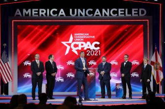 ORLANDO, FLORIDA - FEBRUARY 26: James O'Keefe (C), President, Project Veritas, addresses the Conservative Political Action Conference being held in the Hyatt Regency on February 26, 2021 in Orlando, Florida. Begun in 1974, CPAC brings together conservative organizations, activists, and world leaders to discuss issues important to them. (Photo by Joe Raedle/Getty Images)