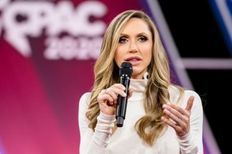 NATIONAL HARBOR, MD - FEBRUARY 28: Laura Trump, President Donald Trumps daughter in-law and member of his 2020 reelection campaign, speaks on stage with Brad Parscale , campaign manager for Trump's 2020 reelection campaign, during the Conservative Political Action Conference 2020 (CPAC) hosted by the American Conservative Union on February 28, 2020 in National Harbor, MD. (Photo by Samuel Corum/Getty Images)