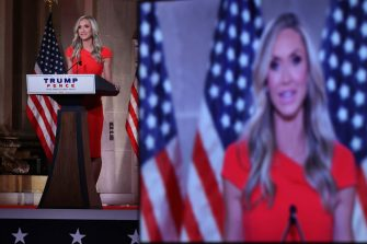 Lara Trump, President Donald Trump campaign adviser, speaks during the Republican National Convention at the Andrew W. Mellon Auditorium in Washington, D.C., U.S., on Wednesday, Aug. 26, 2020. Vice President Pence will make the case for a second term for himself and President Trump today capping a night at the convention designed to emphasize the military, law enforcement and public displays of patriotism. Photographer: Chip Somodevilla/Getty Images/Bloomberg via Getty Images