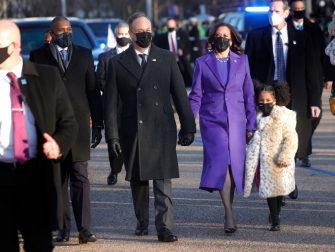 WASHINGTON, DC - JANUARY 20:  U.S. Vice President Kamala Harris, husband Doug Emhoff and her great niece Amara walk the abbreviated parade route after U.S. President Joe Biden's inauguration on January 20, 2021 in Washington, DC. Biden became the 46th president of the United States earlier today during the ceremony at the U.S. Capitol. (Photo by Justin Sullivan/Getty Images)