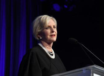 LOS ANGELES, CALIFORNIA - NOVEMBER 05: Cindy McCain speaks onstage during the U.S.VETS Salute Gala on November 05, 2019 in Los Angeles, California. (Photo by FilmMagic/FilmMagic for U.S.VETS)