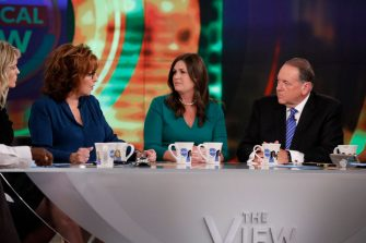 """THE VIEW - In their first joint interview since the 2016 presidential election, Sarah Huckabee Sanders and her father, former Arkansas governor Mike Huckabee will appear on Walt Disney Television via Getty Images's """"The View,"""" live WEDNESDAY, SEPTEMBER 6, 2017.    """"The View"""" airs Monday-Friday (11:00 am-12:00 pm, ET) on the Walt Disney Television via Getty Images Television Network.     (Photo by Heidi Gutman/Walt Disney Television via Getty Images)  SARA HAINES, JOY BEHAR, SARAH HUCKABEE SANDERS, MIKE HUCKABEE"""