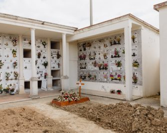 April 2020, Vo' (Padua), Italy - Tomb of Adriano Trevisan, 78, first certified italian victim of COVID-19><Aprile 2020, Vo' (Padova), Italia - Tomba di Adriano Trevisan, 78 anni, prima vittima certificata di COVID-19