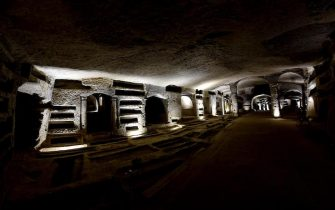 Presetazione a Napoli della sponsorizzazione da parte di Parmacotto per il restauro di alcuni affreschi presenti nelle  Catacombe di San Gennaro, 29 novembre 2017. ANSA / CIRO FUSCO