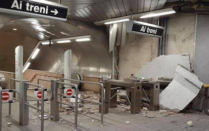 Maltempo Napoli, crollano calcinacci nella metro Salvator Rosa