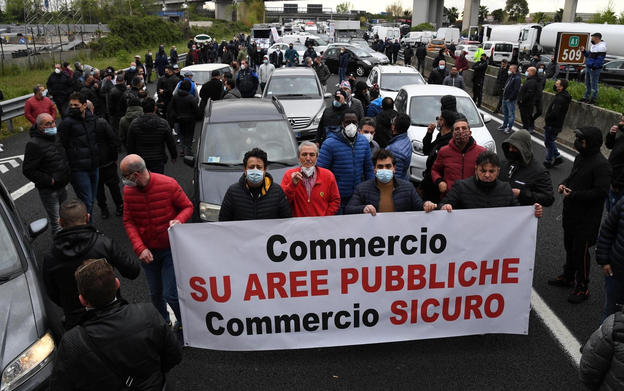 Un'immagine della protesta