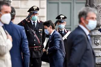 Il prresidente del Consiglio,  Giuseppe Conte, arriva a palazzo Madama per la seduta del Senato in cui si voterà la sfiducia individuale al ministro della Giustizia Alfonso Boanfede, Roma, 20 maggio 2020. ANSA/ALESSANDRO DI MEO