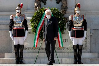 A handout picture made available by Italy's Quirinale Press Office shows Italian President Sergio Mattarella lays a wreath of flowers at the 'Altare della Patria' monument (Altar of the Fatherland) during the celebrations of the Italian Republic Day in Rome, Italy, 02 June 2020. ANSA/QUIRINALE PRESS OFFICE/GIANDOTTI +++ ANSA PROVIDES ACCESS TO THIS HANDOUT PHOTO TO BE USED SOLELY TO ILLUSTRATE NEWS REPORTING OR COMMENTARY ON THE FACTS OR EVENTS DEPICTED IN THIS IMAGE; NO ARCHIVING; NO LICENSING +++