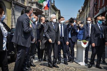 Italian President Sergio Mattarella arrives in Codogno, the first Italian case of Coronavirus Covid-19 was discovered on the night between 20 and 21 February last, on the occasion of the celebrations of the Italian Republic Day, 02 June 2020. ANSA/MATTEO CORNER