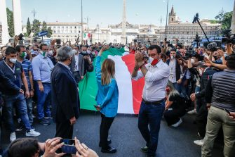 "Vice President of Italian party ""Forza Italia"" Antonio Tajani (L), President of Italian party ""Fratelli d'Italia"" Giorgia Meloni and Federal Secretary of Italian party ""Lega"" Matteo Salvini (R) on the occasion of the event organized by the center-right on the occasion of the Italy's Republic Day in the centre of Rome, Italy, 02 June 2020. ANSA/FABIO FRUSTACI"