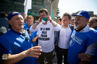 Federal Secretary of Italian party 'Lega ' Matteo Salvini leads a rally during an event organized by penitentiary police, in Rome, Italy, 25 June 2020 ANSA / MASSIMO PERCOSSI