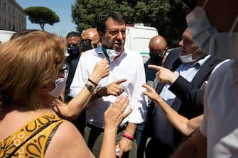 Federal Secretary of Italian party 'Lega'  Matteo Salvini leads a demonstration at the street vendor event in via dei Cerchi, in Rome, Italy, 25 June 2020 ANSA / MASSIMO PERCOSSI