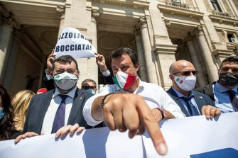 Federal Secretary of Italian party 'Lega' Matteo Salvini at a rally to protest against ministry guidelines in view of the reopening of schools organized  in front of the Ministry of Education in Rome, Italy, 25 June 2020 ANSA / MASSIMO PERCOSSI