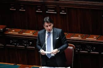 Il presidente del Consiglio, Giuseppe Conte, parla alla Camera durante il Question Time, Roma, 01 Luglio 2020.  ANSA/GIUSEPPE LAMI