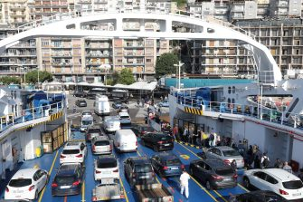 MESSINA, ITALY - JUNE 3: Passengers and cars disembark from the ferry that connects Calabria and Sicily from Villa San Giovanni to Messina on June 3, 2020 in Messina, Italy. Italy has reopened its borders and ended travel restrictions between regions, hoping to encourage tourists back in time for the summer. The country was the first in Europe hit hard by the outbreak and has recorded more than 33,000 deaths. (Photo by Marco Di Lauro/Getty Images)