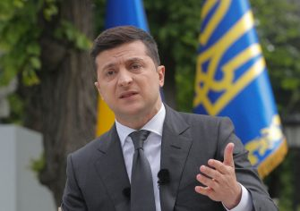 epa08433274 Ukrainian President Volodymyr Zelensky speaks during a press conference in Kiev, Ukraine, 20 May 2020, amid the ongoing coronavirus COVID-19 pandemic. Zelensky answered questions of journalists about the results of the first year as he became President in 2019.  EPA/SERGEY DOLZHENKO