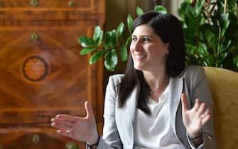 Un momento dell'intervista al Sindaco di Torino, Chiara Appendino, presso il Palazzo Civico, Torino, 18 giugno 2020.   ANSA / ALESSANDRO DI MARCO