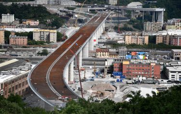 A general view of the new Genoa motorway bridge construction site, in Genoa, northern Italy, 12 June 2020. The new bridge is under construction after the Morandi highway bridge partially collapsed on 14 August 2018, killing a total of 43 people.  ANSA/LUCA ZENNARO