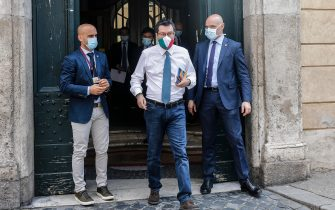 Italian leader of the Lega Nord party, Matteo Salvini, wearing a protective mask,  cames outside the Senate with journalists after the vote of the junta of the elections and parliamentary immunities and on the authorization to proceed against him for the Open Arms affair, Rome, Italy, 26 May 2020. A Senate immunity panel on Tuesday rejected prosecutors' requests to send former interior minister Matteo Salvini to trial for allegedly 'kidnapping' rescued migrants in the Open Arms case. The panel voted by 13 to seven against the prosecutors' request to lift nationalist opposition League party leader Salvini's parliamentary immunity to face trial in the case. ANSA / FABIO FRUSTACI