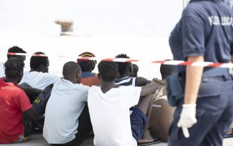 The desembark of migrants after the German NGO migrant rescue ship Eleonore dock into the Sicilian port of Pozzallo near Ragusa, Southern Italy,  02 September 2019. The ship, run by the NGO Mission Lifeline, has over 100 migrants on board. It declared a state of emergency and ignored an Italian entry ban issued by outgoing interior minister Matteo Salvini. ANSA/FRANCESCO RUTA