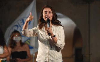 Susanna Ceccardi, candidate for center-right at the presidency of Tuscany region during the electoral event of League secretary Matteo Salvini in Orbetello, near Grosseto, Tuscany, Italy, 27 august 2020. ANSA/ALESSANDRO DI MEO