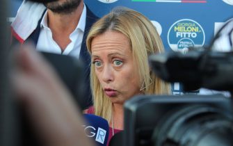 BARI, ITALY - AUGUST 26: Giargia Meloni gives interviews to journalists on August 26, 2020 in Bari, Italy. (Photo by Donato Fasano/Getty Images)