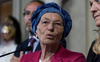 ROME - AUGUST 21: The Senator Emma Bonino, during a press conference after a meeting with Italy's President Sergio Mattarella regarding the formation of a new government at the Quirinale Palace on August 21, 2019 in Rome, Italy. (Photo by Stefano Montesi - Corbis/Getty Images)