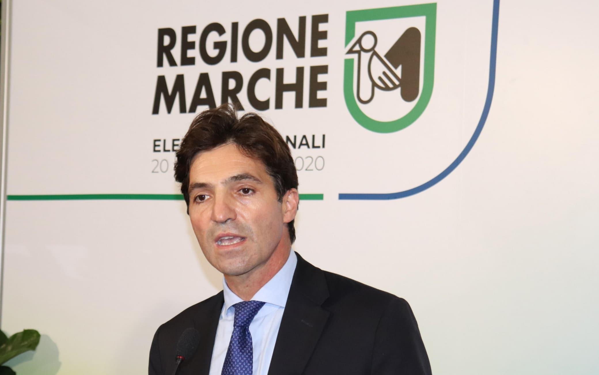 Il primo presidente di centrodestra della Regione Marche Francesco Acquaroli a Palazzo Leopardi, una delle sedi dell'ente.