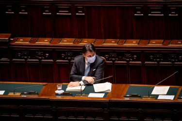 ROME, ITALY - JULY 01: Prime Minister Giuseppe Conte wearing a protective mask answers deputies questions during the weekly question time session at the Camera dei Deputati (Chamber of Deputies) on July 1, 2020 in Rome, Italy. The Prime Minister Giuseppe Conte answers the traditional question time at the Chamber of Deputies on issues of internal politics, ESM (European Stability Mechanism) and post Covid-19 (Coronavirus) measures. (Photo by Antonio Masiello/Getty Images)