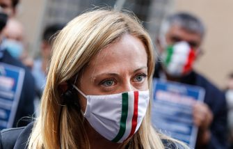 President of Fratelli d'Italia party (FdI) Giorgia Meloni during demonstrate against the measures implemented to stop the spread of the coronavirus pandemic in front Italian Ministry of Culture,