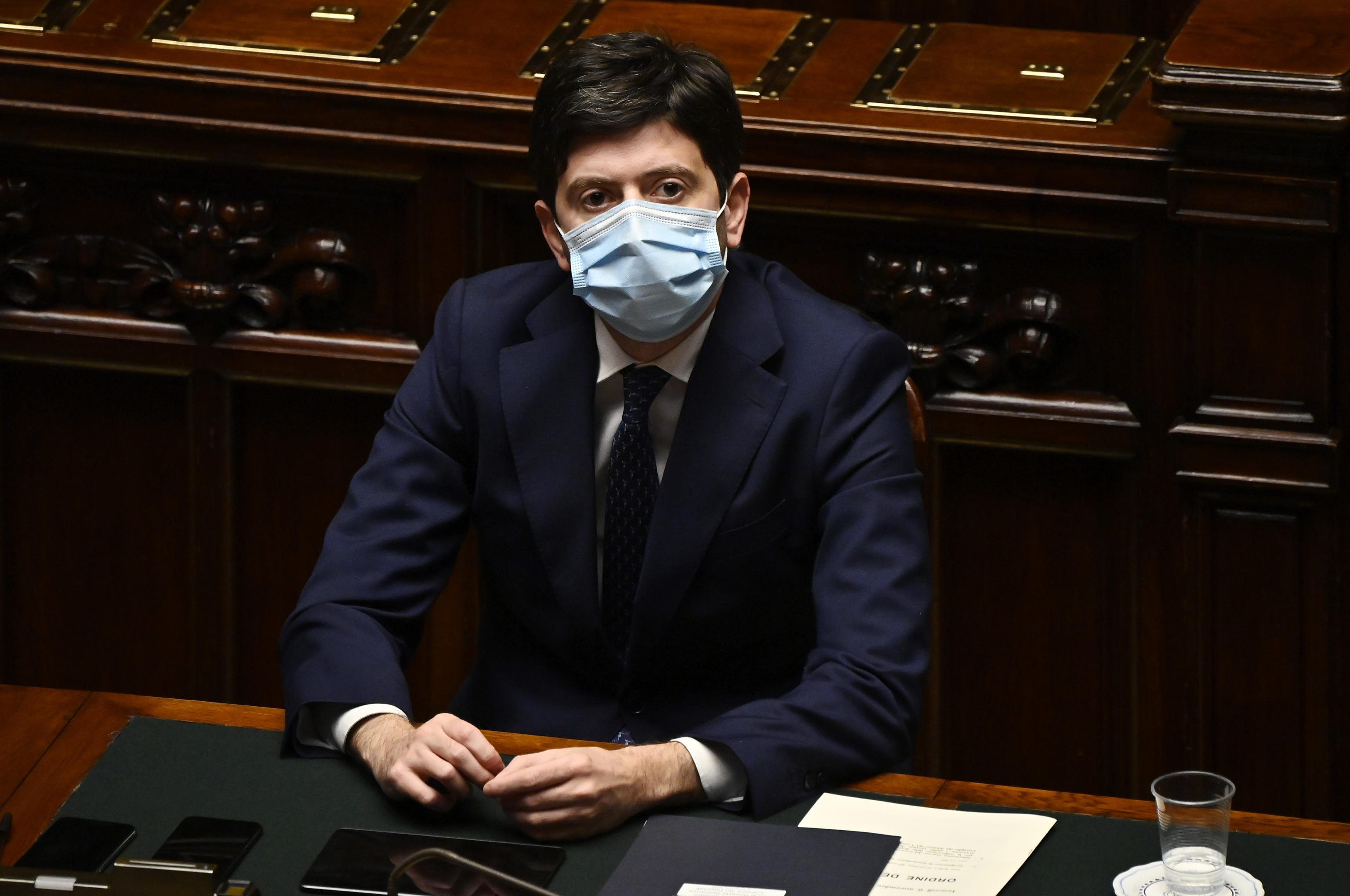 Italian Minister of Health, Roberto Speranza, delivers his speech at the Chamber of Deputies to report on the new decree issued by the Government to counter the spread of Covid-19 pandemic, Rome, Italy, 05 November 2020.  ANSA / RICCARDO ANTIMIANI
