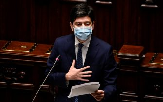 Minister of Health Roberto Speranza delivers a speech at the Chamber of Deputies to report on the new decree issued by the Government to counter the spread of Covid-19 pandemic, Rome, Italy, 5 November 2020. ANSA/RICCARDO ANTIMIANI