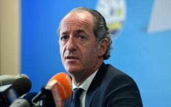 The reconfirmed president for the center-right, Luca Zaia, speaks during the press conference in Villorba, Italy, 22 September 2020. ANSA/PAOLO BALANZA