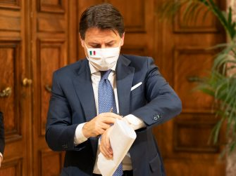 Italian Prime Minister, Giuseppe Conte, attends a press conference at Chigi Palace in Rome, Italy, 03 December 2020. Conte's cabinet approved a draft decree banning travel at Christmas at a meeting overnight in a bid to stop the festive season feeding a third wave of Coronavirs COVID-19 contagion, sources said Thursday. According to the draft decree, which is expected to be definitively approved after talks with Italy's regional government, movement between regions will be banned from December 21 until the Epiphany national holiday on January 6.? ANSA/CHIGI PALACE PRESS OFFICE/FILIPPO ATTILI ?+++ ANSA PROVIDES ACCESS TO THIS HANDOUT PHOTO TO BE USED SOLELY TO ILLUSTRATE NEWS REPORTING OR COMMENTARY ON THE FACTS OR EVENTS DEPICTED IN THIS IMAGE; NO ARCHIVING; NO LICENSING +++