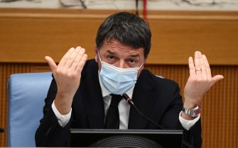 """Leader of """"Italia Viva"""" Italian party, Matteo Renzi, attends a press conference in the group room of the Chamber of Deputies in Rome, Italy, 13 January 2021. ANSA/ETTORE FERRARI/POOL"""