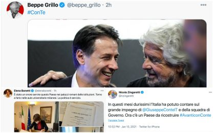 Da #ConTe di Grillo ad #AvanticonConte, la crisi di governo su Twitter
